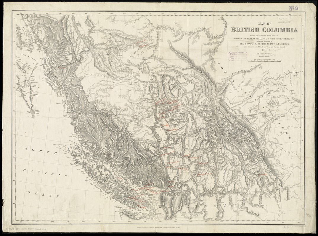Map of British Columbia to the 56th parallel, north latitude