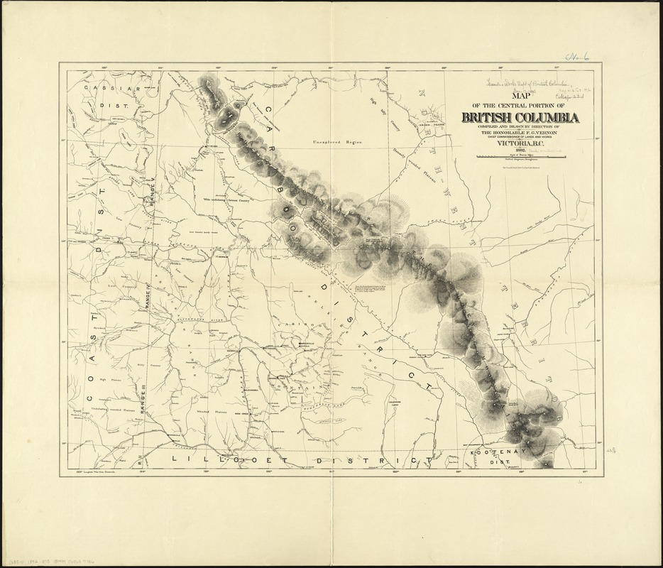 Map of the central portion of British Columbia