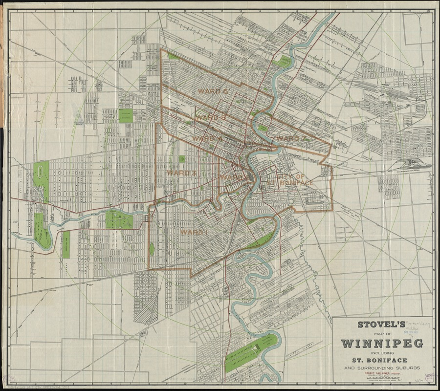 Stovel's map of Winnipeg, including St. Boniface and surrounding suburbs