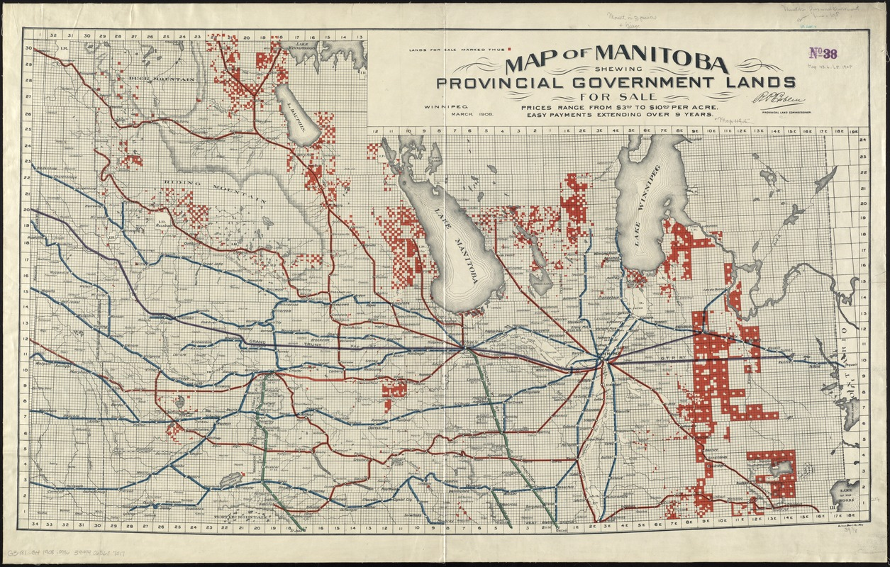 Map of Manitoba shewing provincial government lands for sale