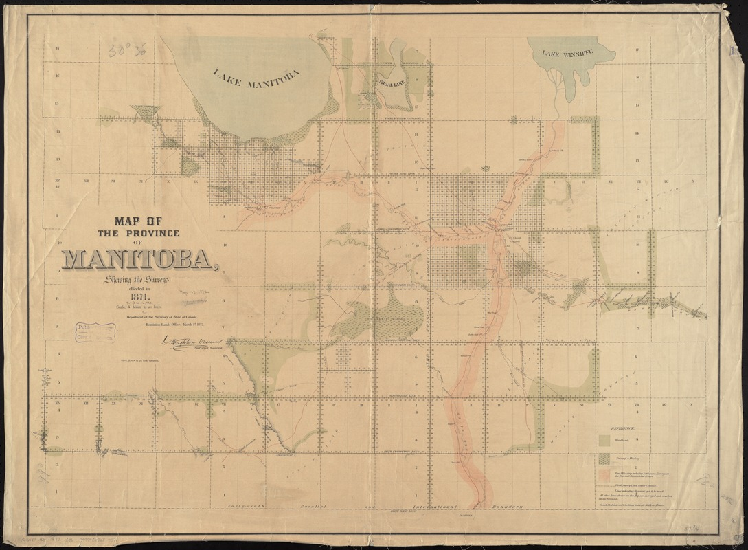 Map of the province of Manitoba, shewing the surveys effected in 1871