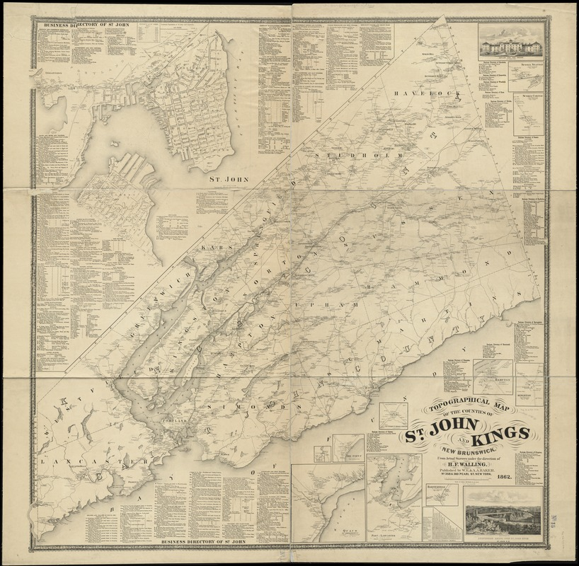 Map From Boston To St John New Brunswick Canada Topographical map of the counties of St. John and Kings, New