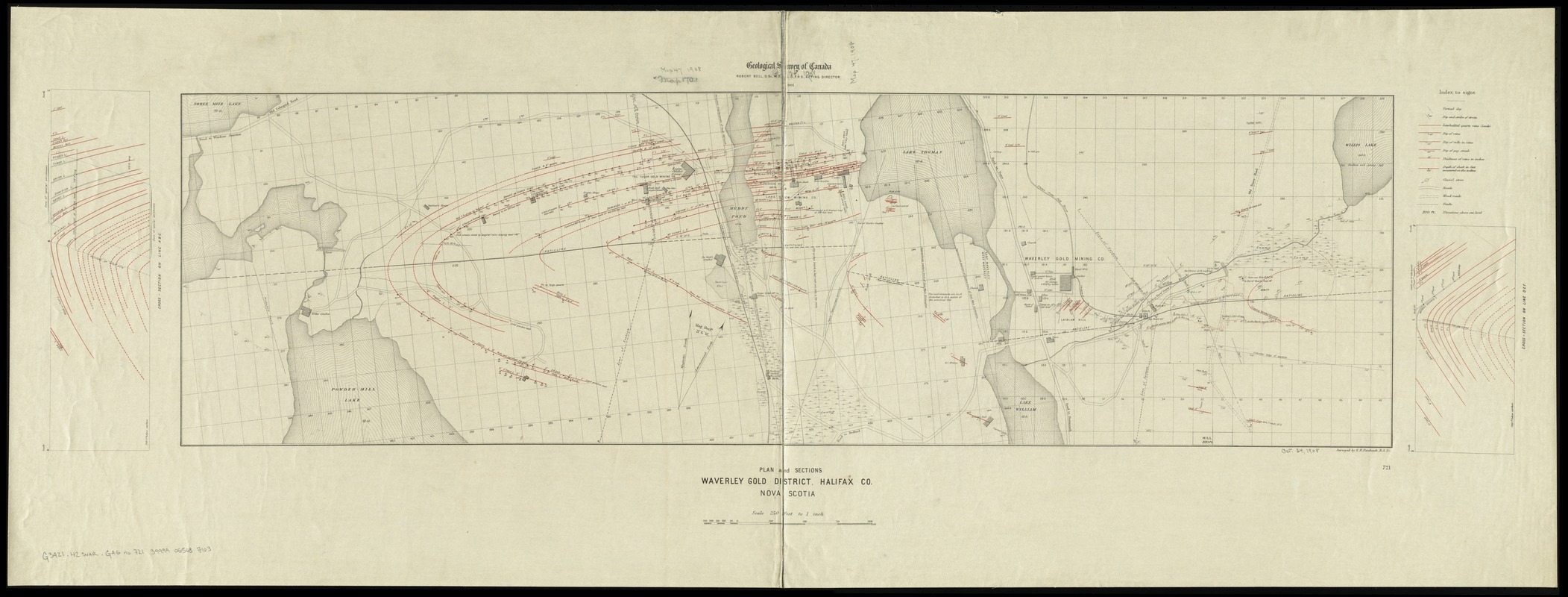Plan and sections Waverley gold district, Halifax Co., Nova Scotia