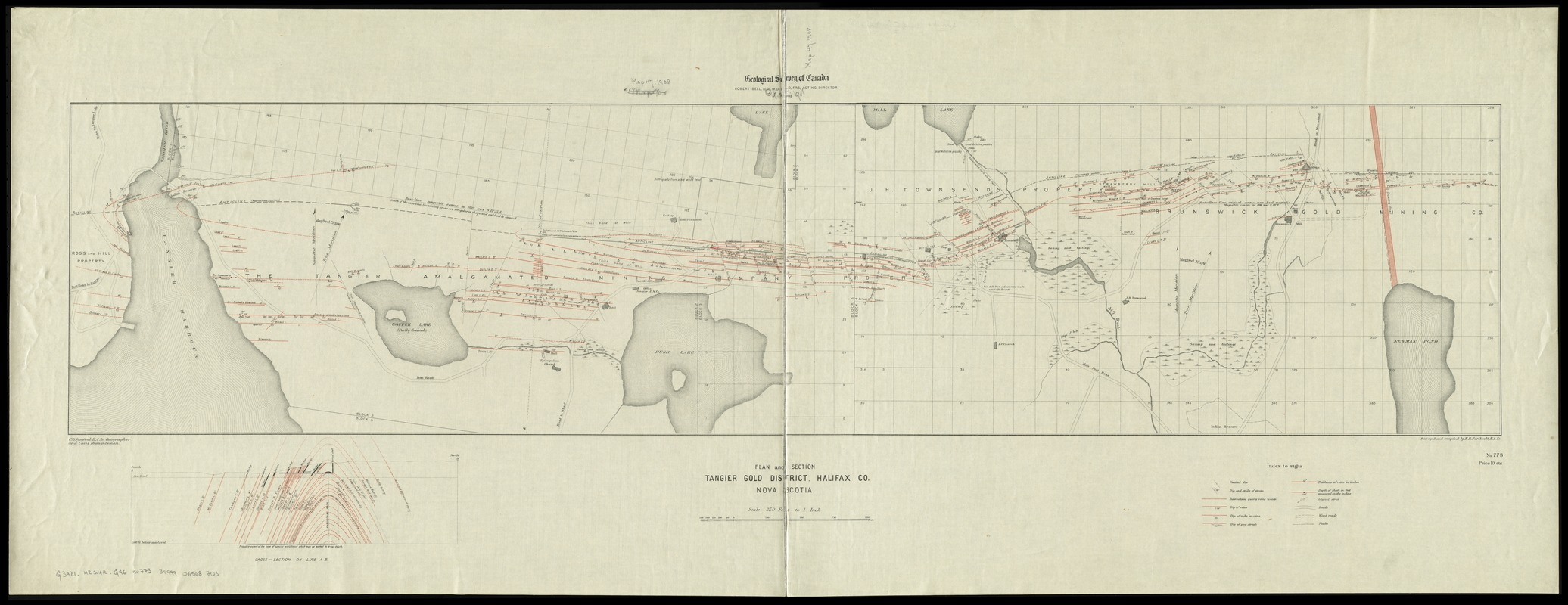 Plan and section, Tangier gold district, Halifax Co., Nova Scotia