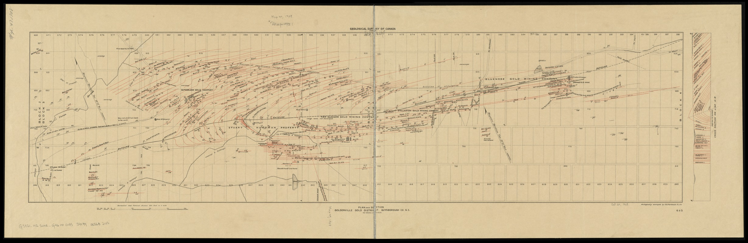 Plan and section, Goldenville gold district, Guysborough Co., N.S