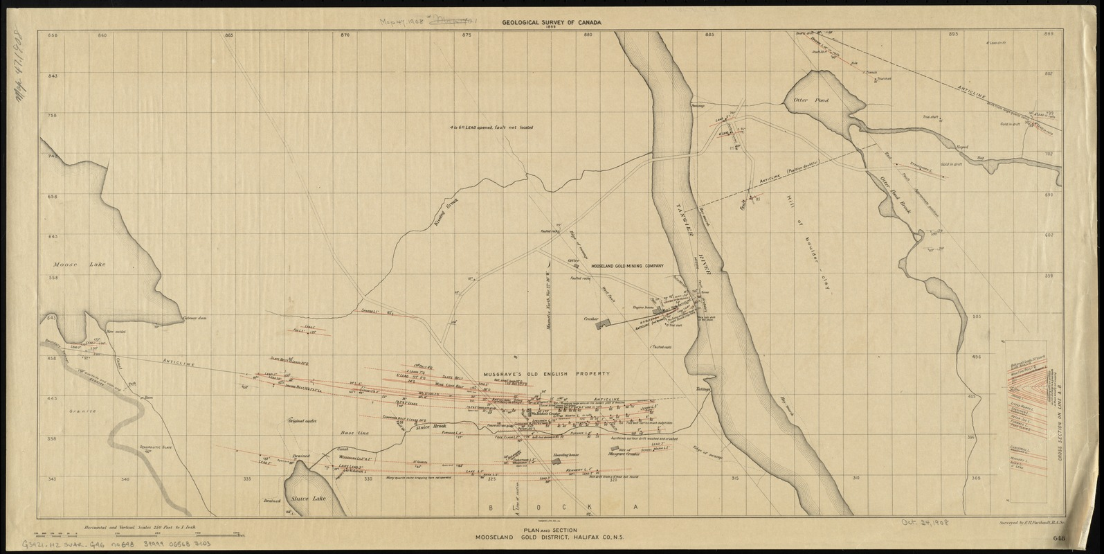 Plan and section, Mooseland gold district, Halifax co., N.S