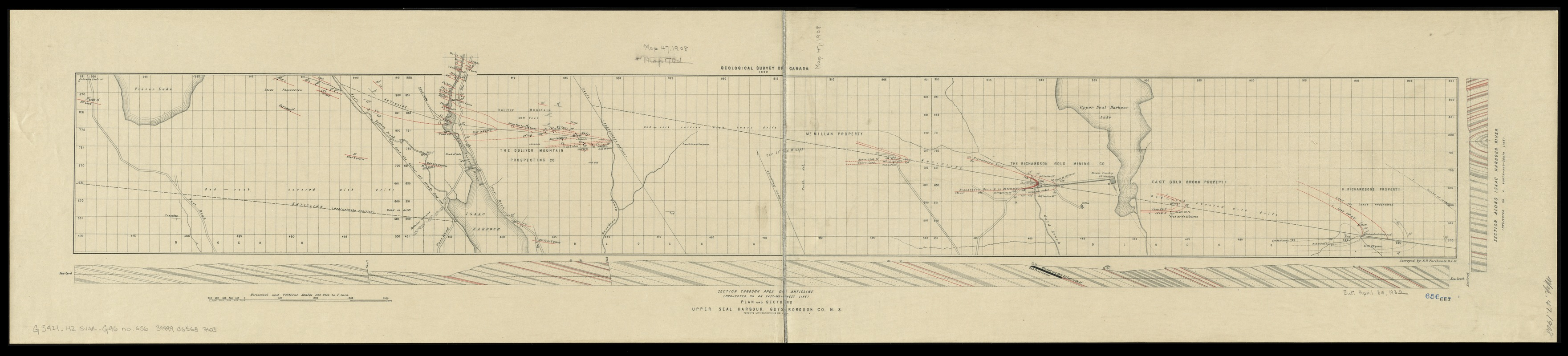 Plan and sections Upper Seal Harbour, Guysborough Co., N.S
