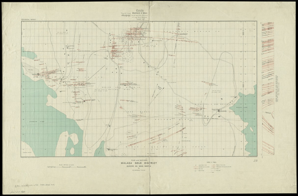 Plan and sections Malaga gold district, Queens Co., Nova-Scotia