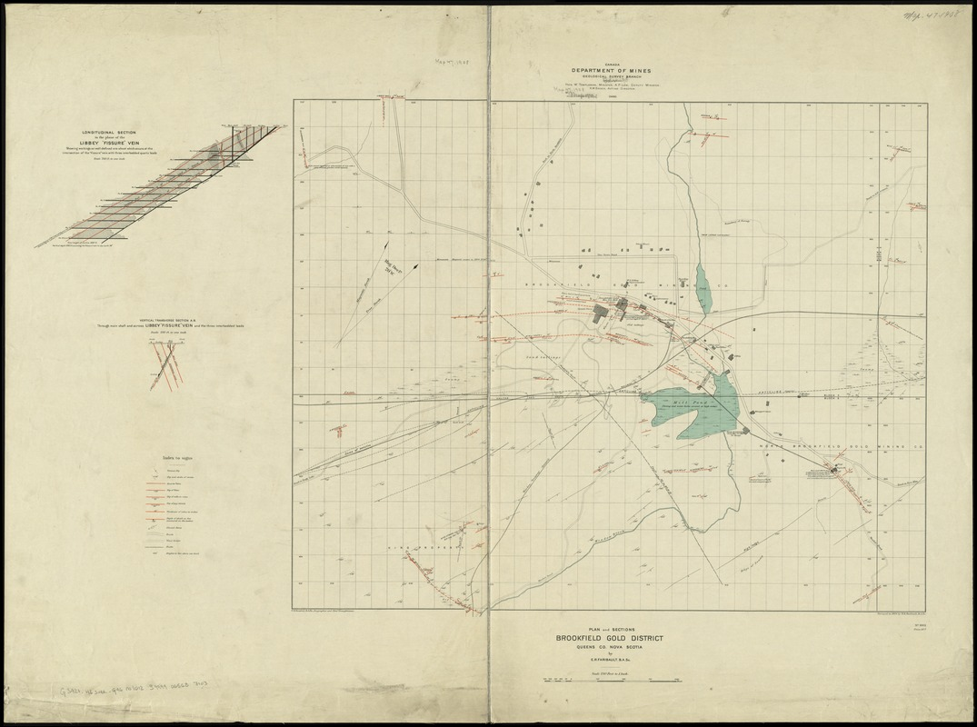 Plan and sections, Brookfield gold district, Queens Co., Nova Scotia