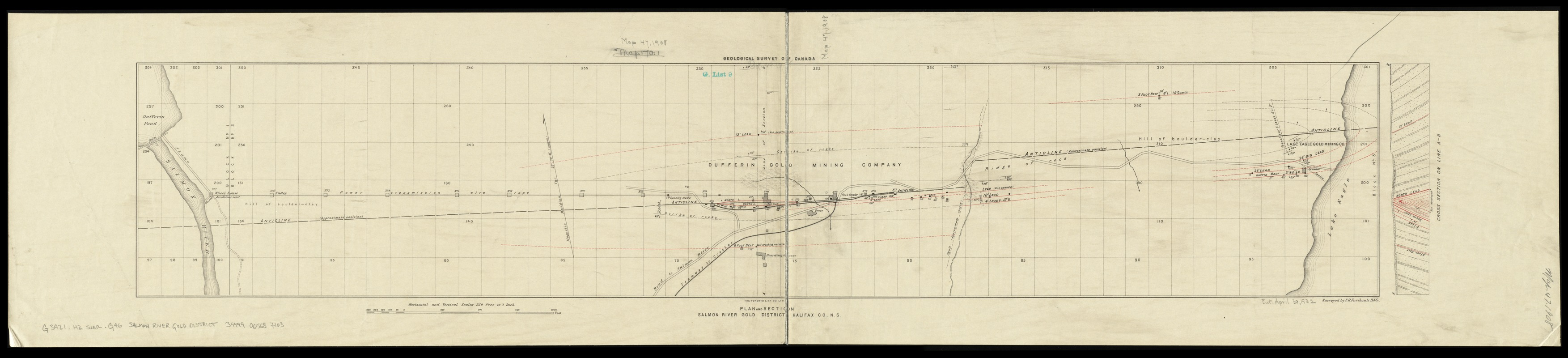 Plan and section, Salmon River gold district, Halifax Co., N.S