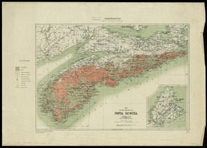 "Map of the province of Nova Scotia to illustrate report by E.R. Faribault, B.A. Sc. on the ""Gold fields of Nova Scotia"""
