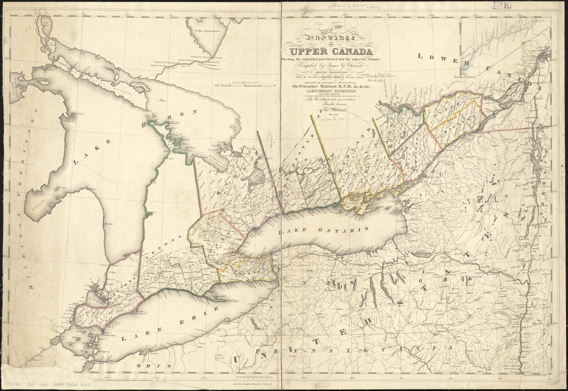 Map of the province of Upper Canada shewing the organized part thereof and the adjacent county