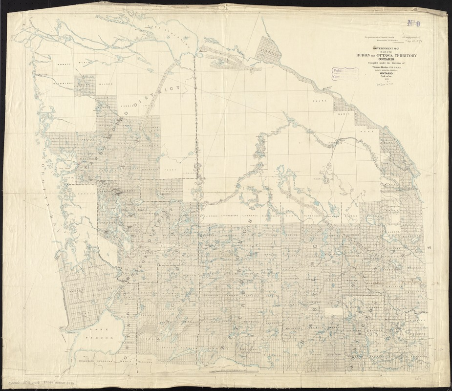 Government map of part of the Huron and Ottawa Territory, Ontario