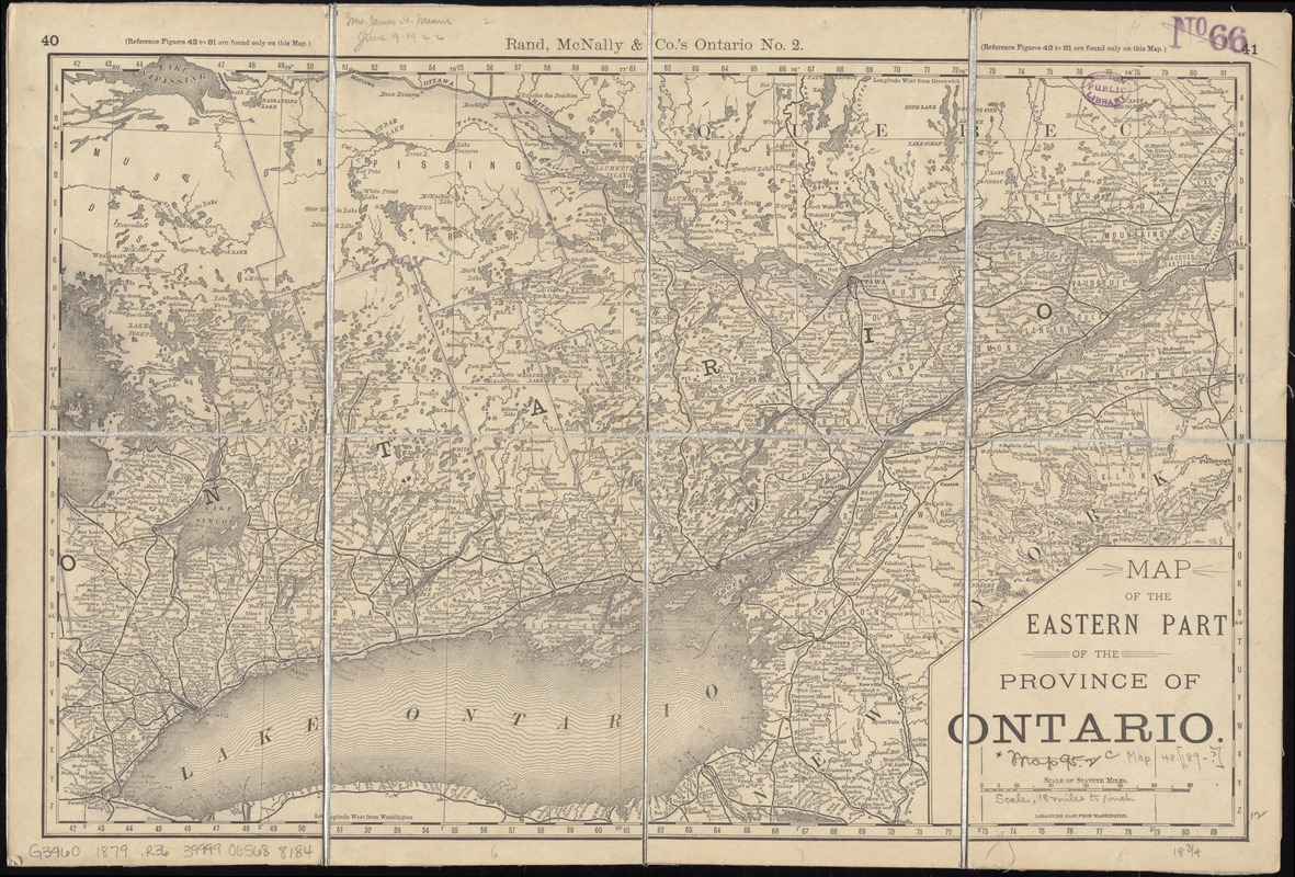 Map of the eastern part of the Province of Ontario
