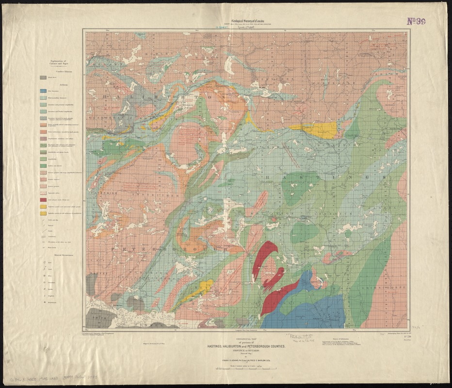 Geological map of portions of Hastings, Haliburton and Peterborough Counties, Province of Ontario