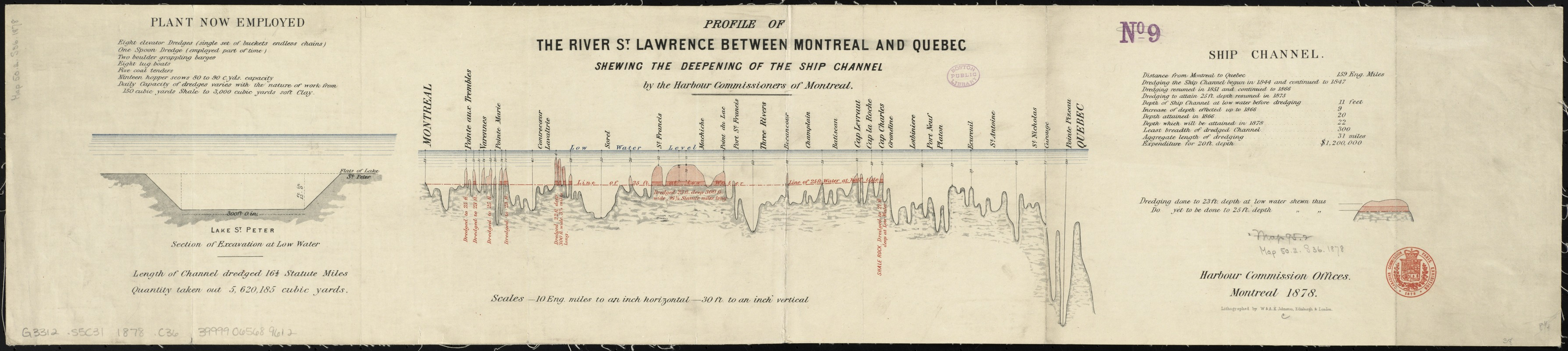 Profile of the river St. Lawrence between Montreal and Quebec shewing the deepening of the ship channel