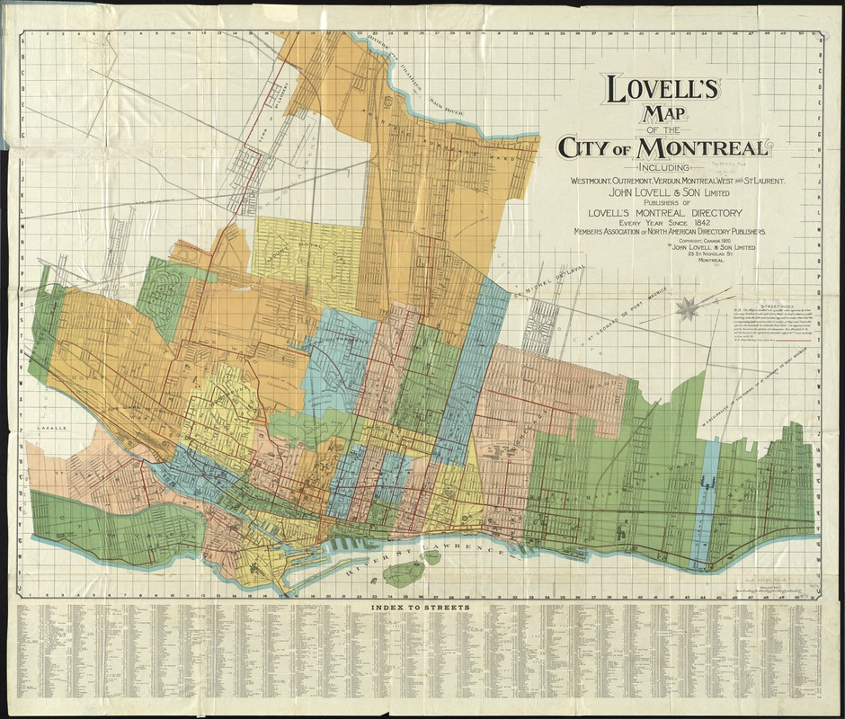 Lovell's map of the city of Montreal