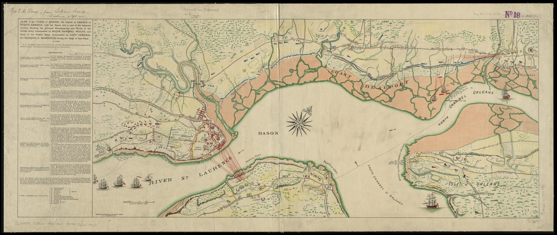 Plan of the town of Quebec, the capital of Canada in North America, with the Bason and a part of the adjacent country shewing the principal encampments and works of the British army commanded by Major General Wolfe, and those of the French army commanded by Lieut General the Marquis of Montcalm, during the siege of that place in 1759