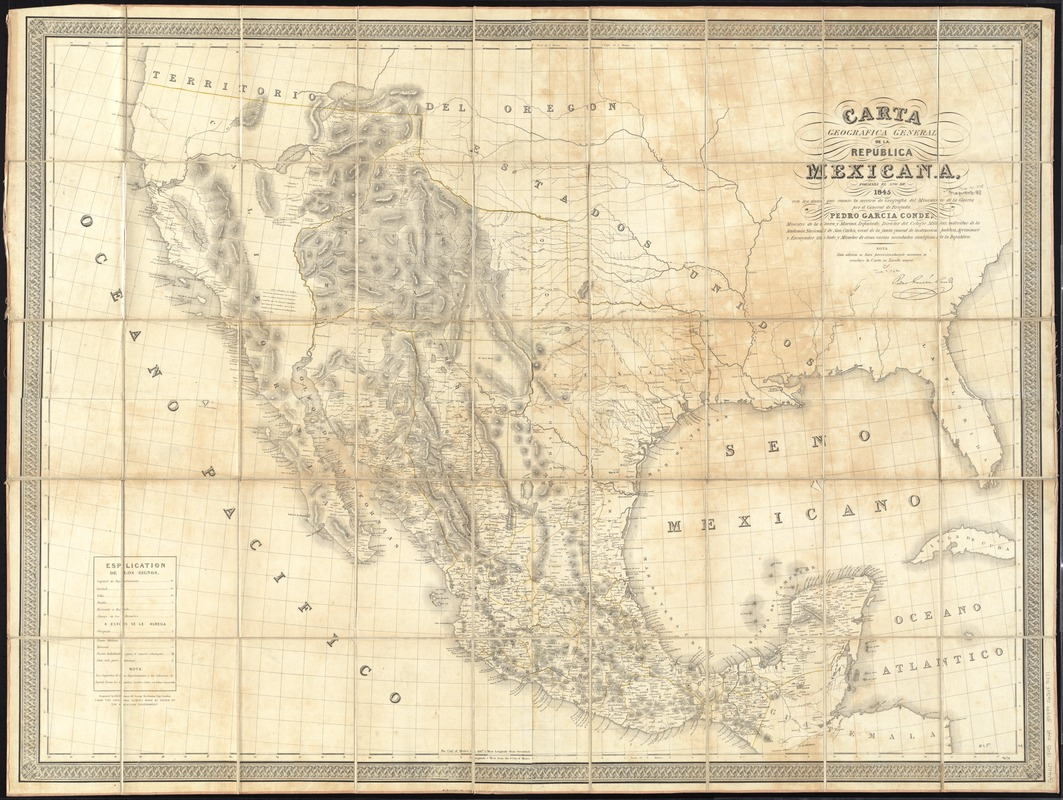 Carta geografica general de la republica Mexicana