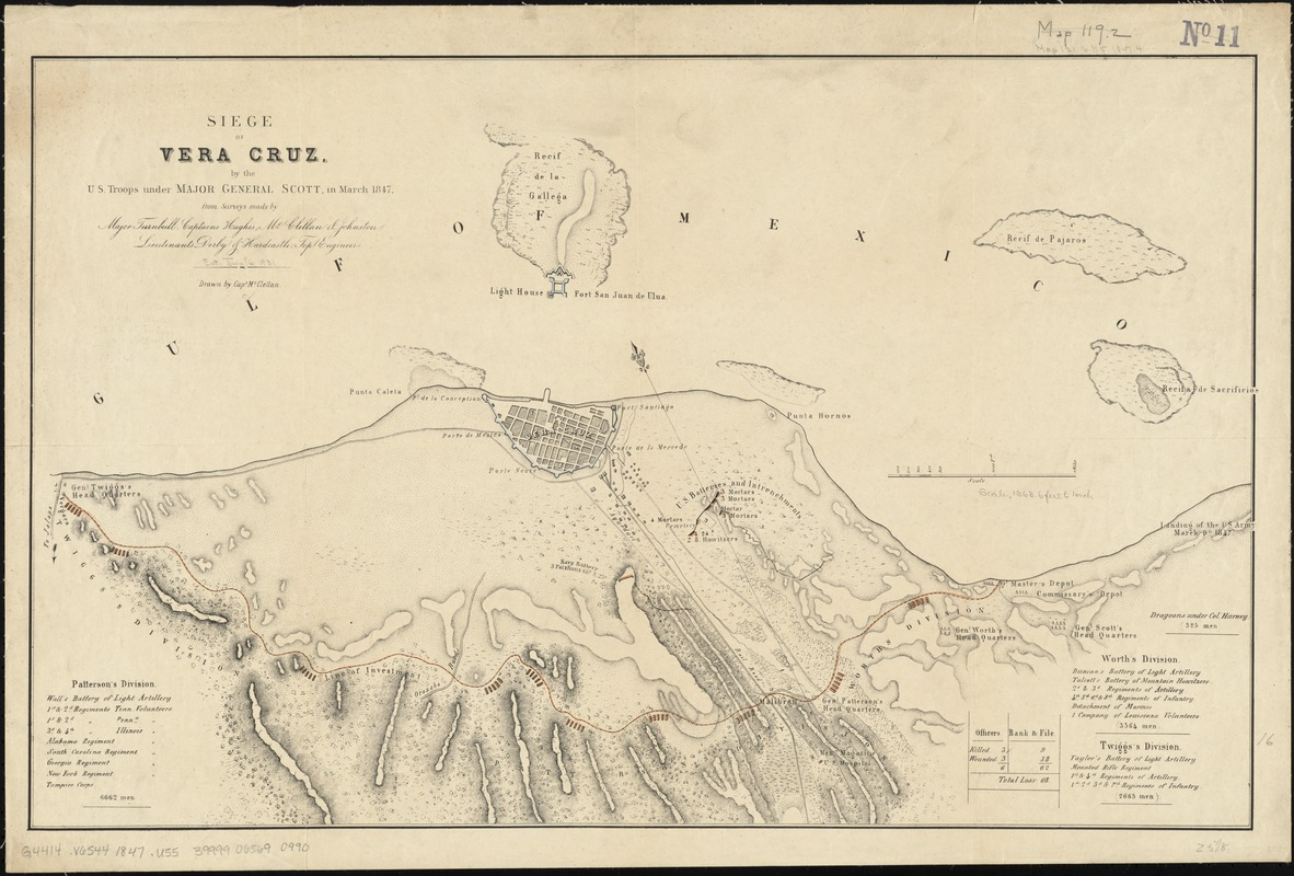 Siege of Vera Cruz, by the U.S. troops under Major General Scott, in March 1847, from surveys made by Major Turnbull, Captains Hughes, McClellan, & Johnston; Lieutenants Derby & Hardcastle, Topl. Engineers