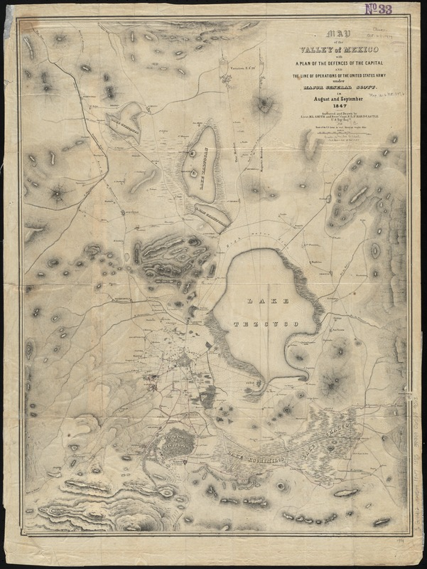 Map Of The Valley Of Mexico With A Plan Of The Defences Of The - Us map 1847