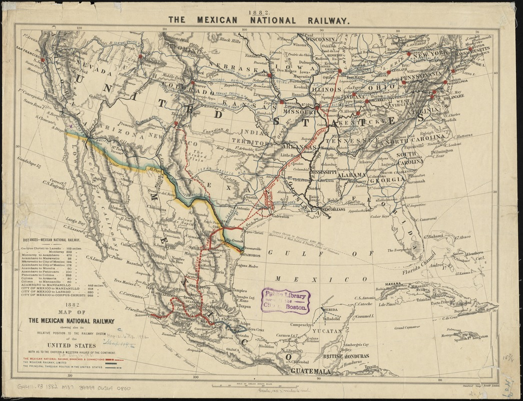 The southwestern railroad system United States and Mexico Digital
