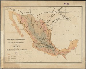 Transportation lines between the United States and Mexico, showing differences of elevation