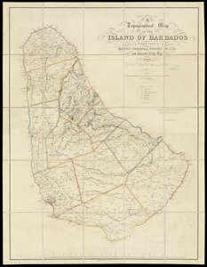 A topographical map of the island of Barbados
