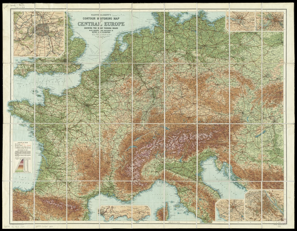 Bartholomew S Contour Motoring Map Of Central Europe Showing The