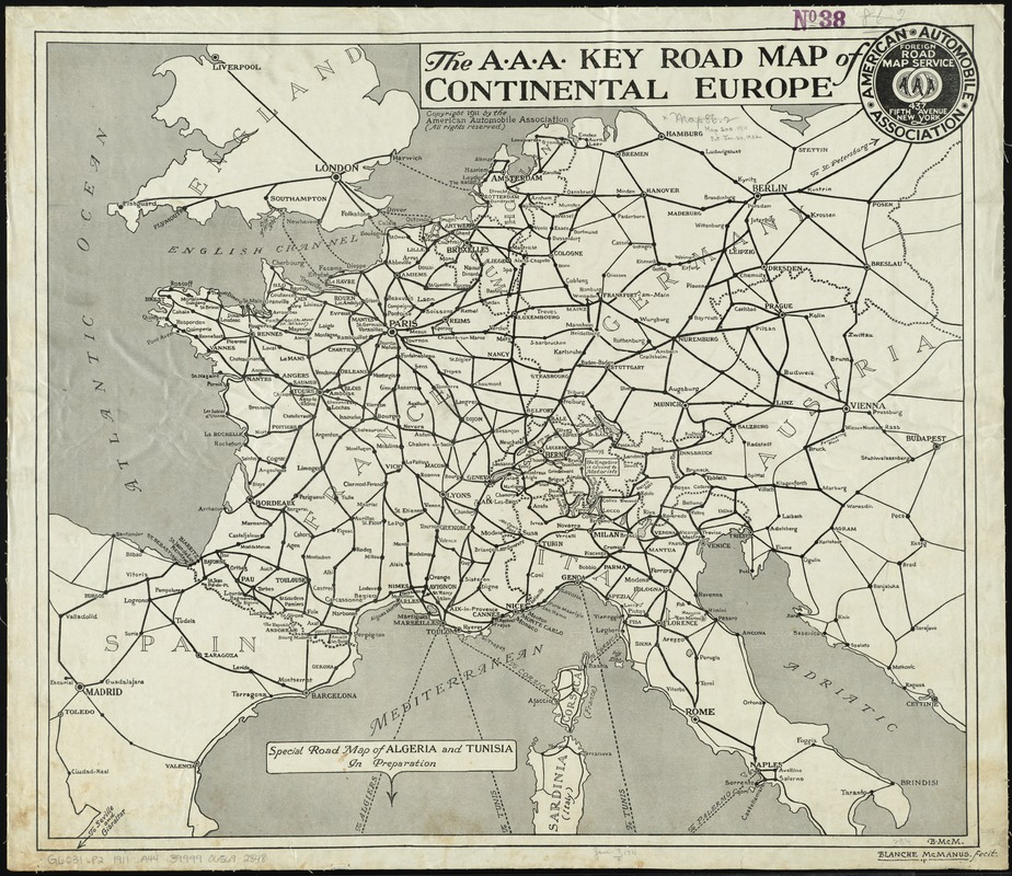 Mainland Europe Map.The A A A Key Road Map Of Continental Europe Norman B Leventhal