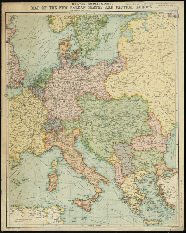 The National Geographic magazine map of the new Balkan states and Central Europe