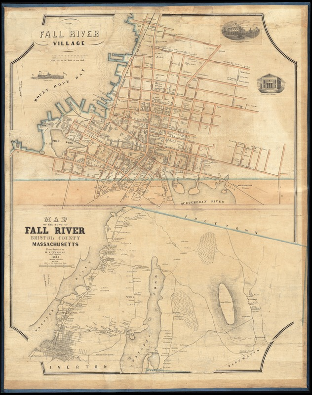 Fall River Village Map of the town of Fall River Bristol County