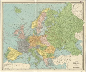 Hammond's enlarged map of Europe of to-day showing boundaries of the new states as determined by the peace conference