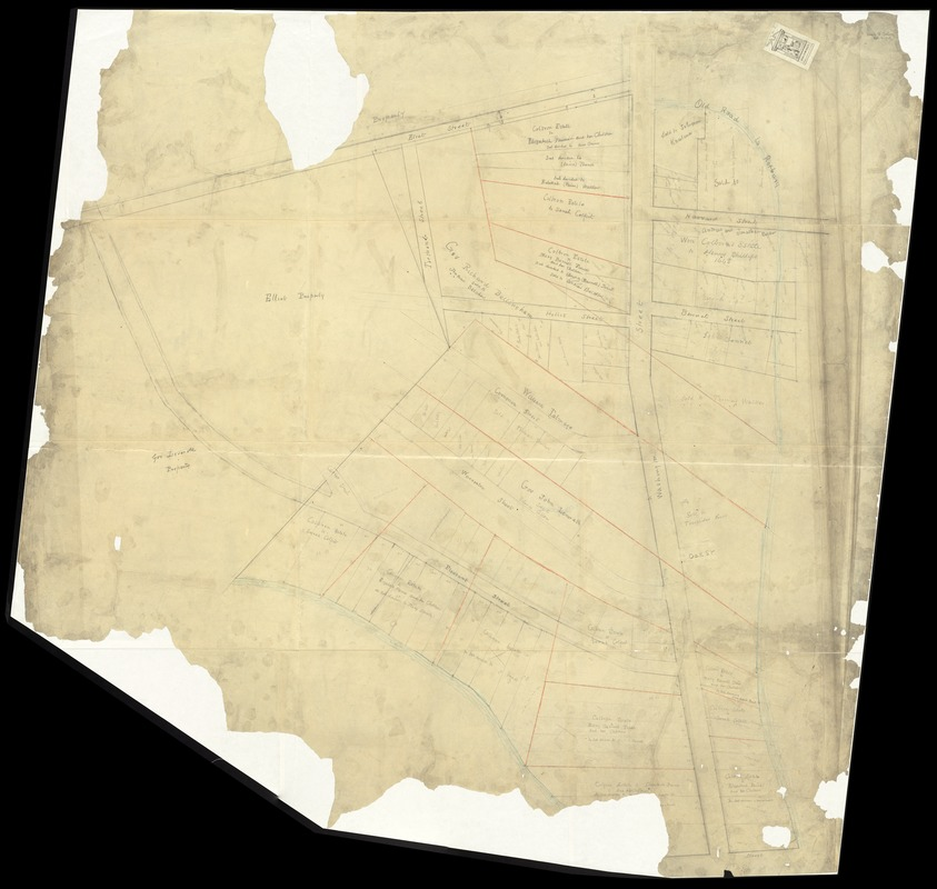 [Plan of part of Boston bounded by Eliot, Washington, and Pleasant streets showing landownership in the late 17th century]