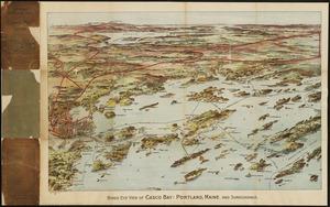 Birds eye view of Casco Bay, Portland, Maine, and surroundings