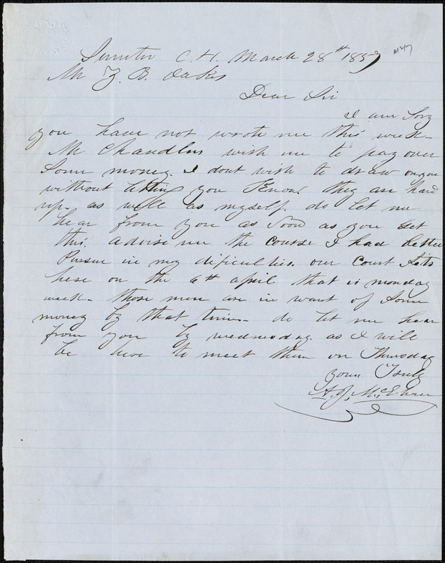 A. J. McElveen, Sumter Court House, S.C., autograph note signed to Ziba B. Oakes, 28 March 1857