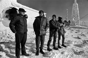 Mount Washington weather station and TV station personnel in winter, New Hampshire