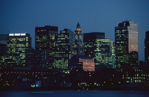 Customs House & skyline from East Boston, Boston