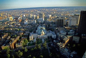 Beacon Hill & Massachusetts State House aerial view, Boston