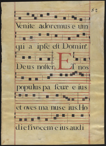 Two leaves from an 18th-century stencilled Antiphonal