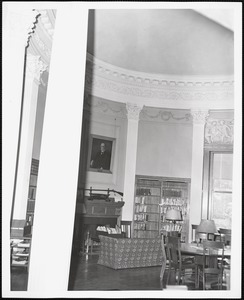 Wayland Library, round room, east fireplace, couch
