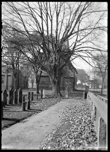 Cemetery, maple, and church