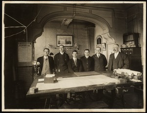 Group in drafting room, W. 6 mill. Reading from right to left - Mr. Schwarz, Hill, Benoit, Eichler, Perkins & Stevens