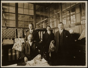 Color shop office, print building. Mr. Kenyon, seated - standing, left to right Mr. Farnworth, Mr. Hefte, Mr. Whelpley