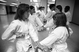 Women's karate class at Lesley College, Cambridge