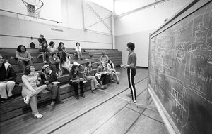 """Chalk talk"" for women's basketball class, Suffolk University, Boston"