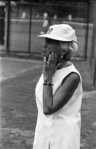 """Baba"" Lewis' mom watches her play tennis, Newton"