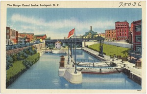 The Barge Canal locks, Lockport, N. Y.