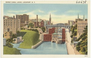 Barge Canal locks, Lockport, N. Y.