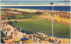Beach and boardwalk, Jones Beach State Park, Long Island, N. Y.
